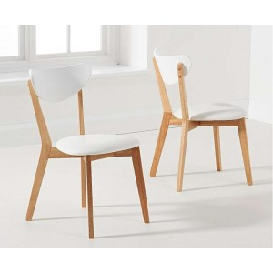 Kasia White And Oak Wooden Dining Chairs In A Pair