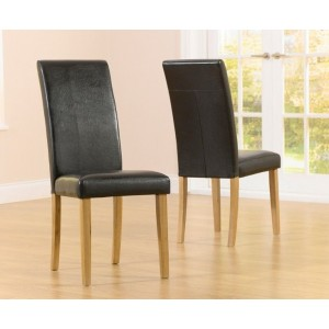 Atlanta Dining Chair In Black With Wooden Oak Legs In A Pair