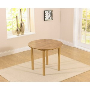 Duplex Round Drop Leaf Extending Dining Table In Solid Oak