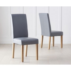 Atlanta Dining Chair In Grey With Wooden Oak Legs In A Pair