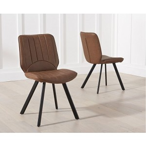 Maui Brown Pu Dining Chair With Black Angled Legs