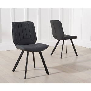 Maui Grey Pu Dining Chair With Black Angled Legs