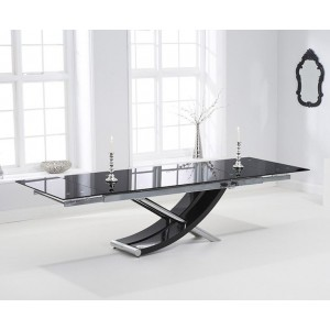 Marchelle Glass Extendable Dining Table In Black With Chrome Legs