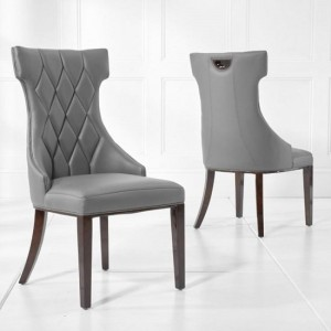 Dewall Grey Faux Leather Dining Chair With Wood Legs In A Pair
