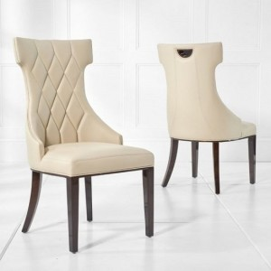 Dewall Cream Faux Leather Dining Chair With Wood Legs In A Pair
