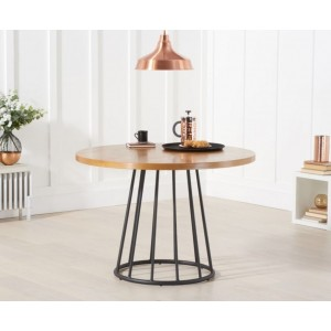 Elbeni Round Dining Table In Ash Wood With Metal Frame