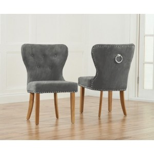 Marcel Dining Chair In Grey Plush Fabric With Light Oak Legs In A Pair