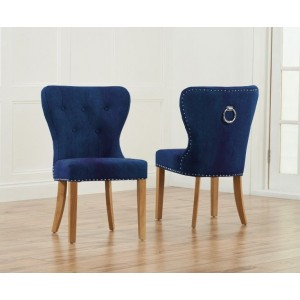 Marcel Dining Chair In Blue Plush Fabric With Oak Legs In A Pair