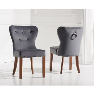 Marcel Dining Chair In Grey Plush Fabric With Oak Legs In A Pair