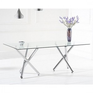 Paris Glass Dining Table Large In Clear With Chrome Legs