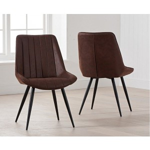 Harley Dining Chair In Brown Fabric With Black Legs In A Pair