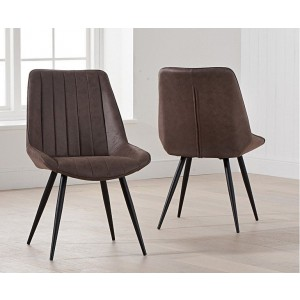 Harley Dining Chair In Antique Mink Fabric With Black Legs In A Pair