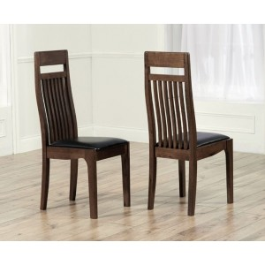 Monte Carlo Dining Chair In Brown With Wooden Frame In A Pair