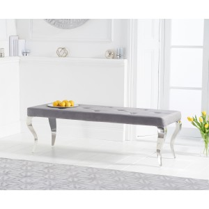 Franca 150cm Grey Velvet Bench With Polished Legs