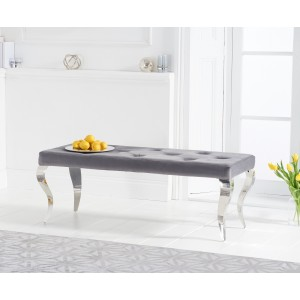 Franca 130cm Grey Velvet Bench With Polished Legs