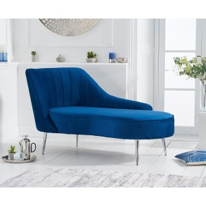 Jara Left Facing Arm Blue Velvet Chaise