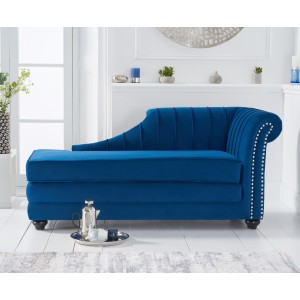 Laurn Right Facing Arm Blue Velvet Chaise