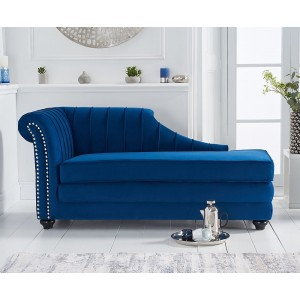 Laurn Left Facing Arm Blue Velvet Chaise