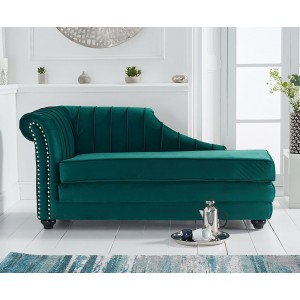 Laurn Left Facing Arm Green Velvet Chaise