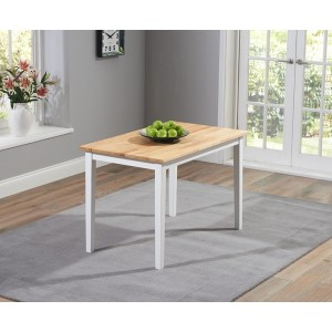Lucey Solid Hardwood & Painted Oak & White 115cm