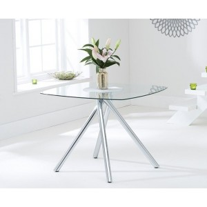 Kaplan Glass Dining Table Square In Clear With Chrome Legs