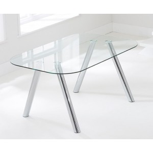 Milana Modern Glass Dining Table In Clear With Chrome Legs