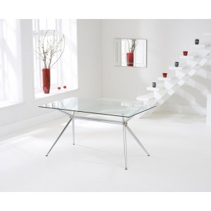 Karin Glass Dining Table Rectangular In Clear With Chrome Legs