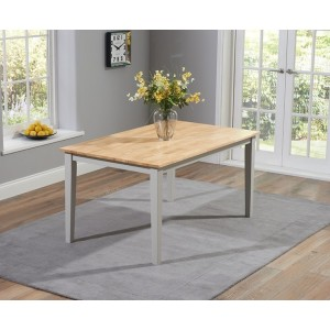 Lucey Oak & Grey Solid Hardwood & Painted 150cm