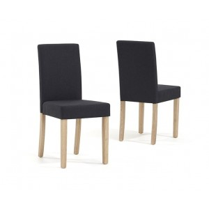 Maiya Dining Chair In Black/Dark Grey Weave Fabric With Oak Legs In A Pair