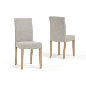 Maiya Dining Chair In Cream Weave Fabric With Oak Legs In A Pair