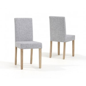 Maiya Dining Chair In Grey Weave Fabric With Oak Legs In A Pair