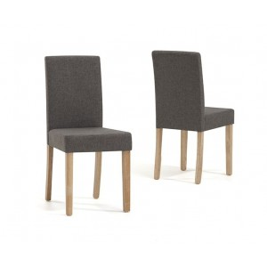 Maiya Dining Chair In Brown Weave Fabric With Oak Legs In A Pair