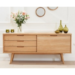 Riviera Sideboard In Oak With 3 Drawers And Sliding Door