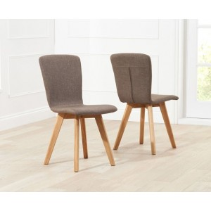 Riviera Dining Chair In Brown Fabric In A Pair