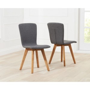 Riviera Dining Chair In Charcoal Fabric In A Pair