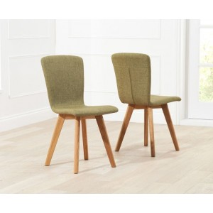 Riviera Dining Chair In Green Fabric In A Pair