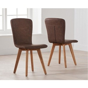Riviera Dining Chair In Brown Faux Leather And Oak Legs In A Pair