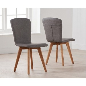 Riviera Dining Chair In Grey Faux Leather And Oak Legs In A Pair