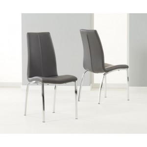 Carsen Dining Chair In Grey Faux Leather In A Pair