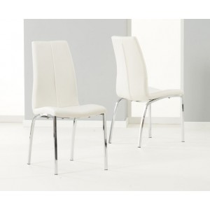 Carsen Dining Chair In Ivory White Faux Leather In A Pair