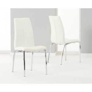 Carsen Dining Chair In Cream Faux Leather In A Pair