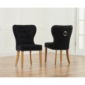 Kalim Dining Chair In Black Fabric With Oak Legs In A Pair