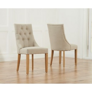 Pailin Dining Chair In Beige Fabric With Oak Legs In A Pair