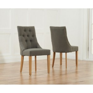 Pailin Dining Chair In Grey Fabric With Oak Legs In A Pair