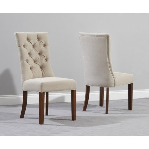 Albury Fabric Dining Chair In Beige And Dark Oak In A Pair
