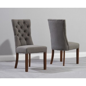 Albury Fabric Dining Chair In Grey And Dark Oak In A Pair