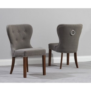 Kalim Dining Chair In Grey Fabric With Dark Oak Legs In A Pair