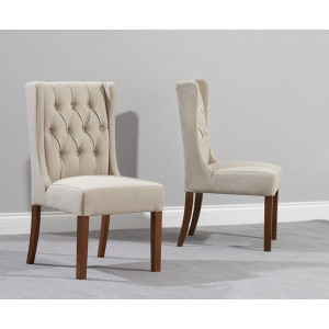 Stefini Fabric Dining Chair In Beige And Dark Oak In A Pair