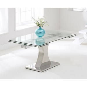 Quintrell Glass Extendable Dining Table With Stainless Steel Base