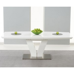 Maisie Extendable Dining Table In White Gloss With Metal Base